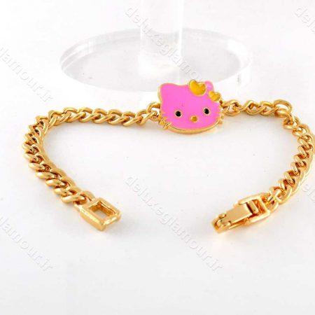 دستبند بچه گانه استیل طرح کیتی با طول 18 سانتی ds-n192 از نمای دور