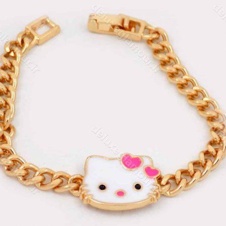 دستبند بچه گانه استیل طرح کیتی 15 سانتی با قفل جعبه ای ds-n186 از نمای نزدیک