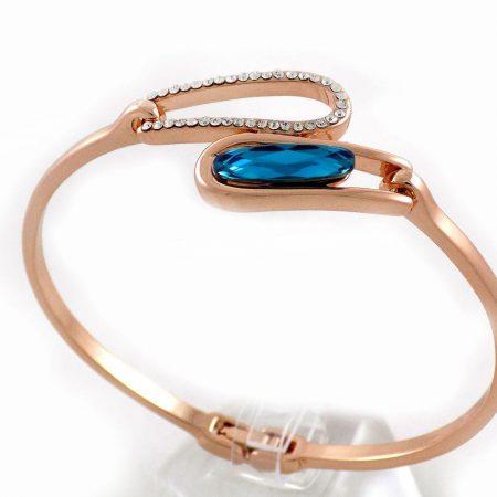 دستبند دخترانه جواهری رزگلد کلیو با نگین های سواروسکی اصل ds-n195 از نمای روبرو