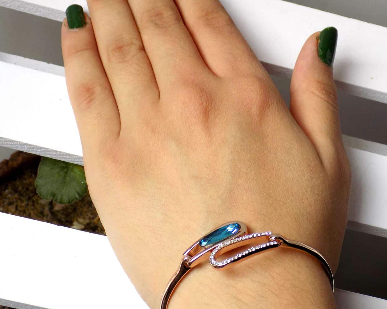 دستبند دخترانه جواهری رزگلد کلیو با نگین های سواروسکی اصل ds-n195