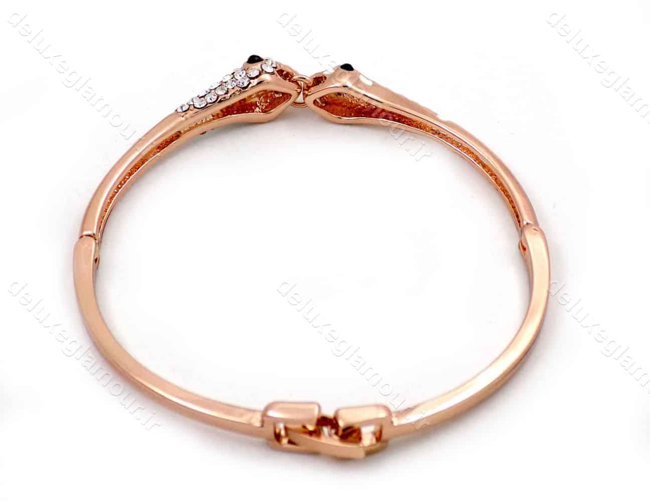 دستبند دخترانه رزگلد جواهری کلیو با نگین های سفید سواروسکی ds-n191
