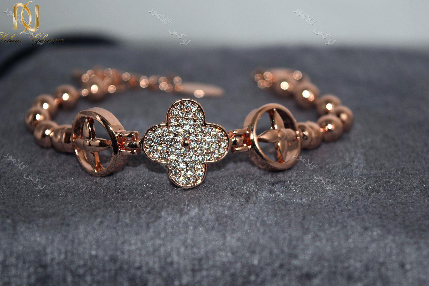 دستبند دخترانه طرح ون کلیف کلیو با کریستالهای سواروسکی Ds-n190 (3)