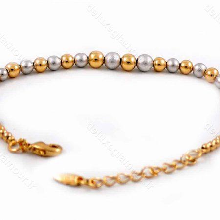 دستبند دخترانه ژوپینگ با طرح گوی دو رنگ طلایی و نقره ای ds-n180 از نمای پشت