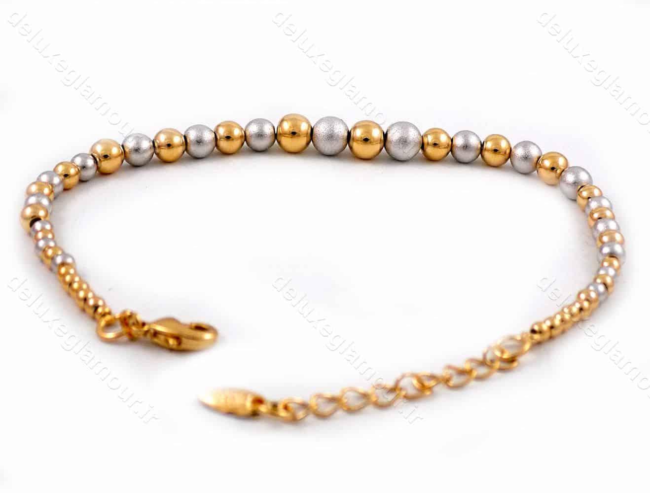 دستبند دخترانه ژوپینگ با طرح گوی دو رنگ طلایی و نقره ای ds-n180