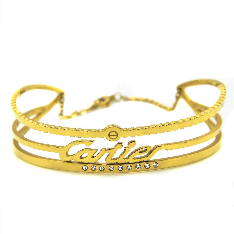 دستبند زنانه استیل طرح کارتیه با روکش آب طلای عیار ds-n174