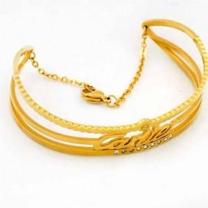 دستبند زنانه استیل طرح کارتیه با روکش آب طلای عیار ds-n174 از نمای کنار