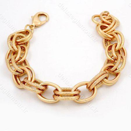 دستبند زنانه ژوپینگ 20 سانتی با طرح زنجیری کارتیر و روکش آب طلای 18 عیار ds-n181 از نمای روبرو