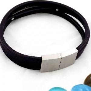 دستبند مردانه سه لاینه چرم با رویه استیل و طرح رولکس ds-n158 از نمای پشت
