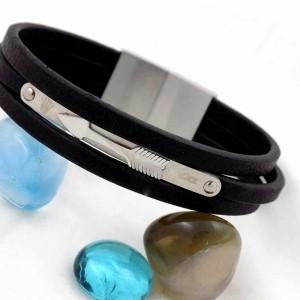 دستبند مردانه سه لاینه چرم با رویه استیل و طرح رولکس ds-n158 از نمای روبرو