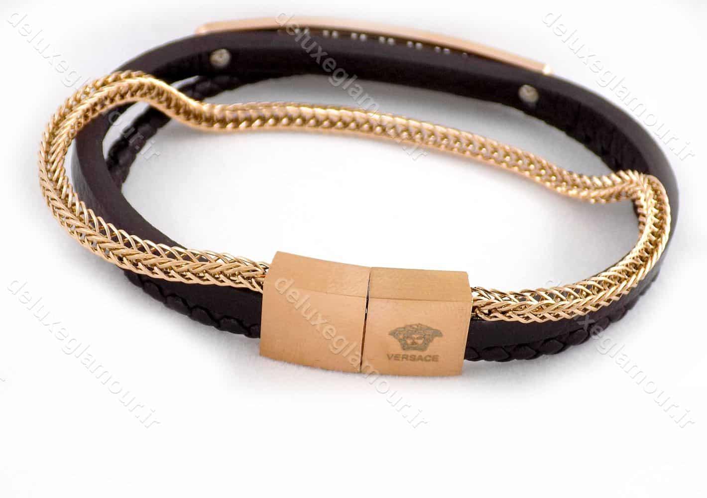 دستبند مردانه چرم سه لاینه زنجیری با رویه استیل رنگ رزگلد ds-n189