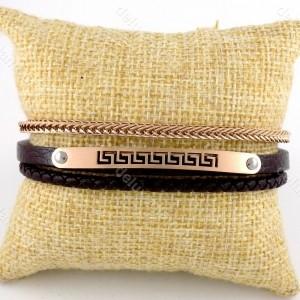 دستبند مردانه چرم سه لاینه زنجیری با رویه استیل رنگ رزگلد ds-n189 از نمای روبرو