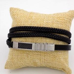 دستبند مردانه چرم طرح بافت و ساده با رویه استیل طرح مونت بلانک DS-N188 از نمای روبرو