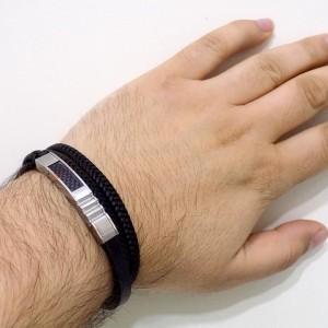 دستبند مردانه چرم طرح بافت و ساده با رویه استیل طرح مونت بلانک DS-N188 از نمای روی دست