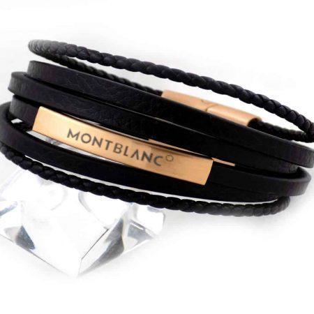 دستبند مردانه چرم چند لاینه طرح مونت بلانک با رویه رزگلد استیل ds-n194 از نمای روبرو
