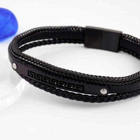 دستبند چرمی مردانه مشکی زنجیری طرح ورساچه ds-n159 از نمای کنار