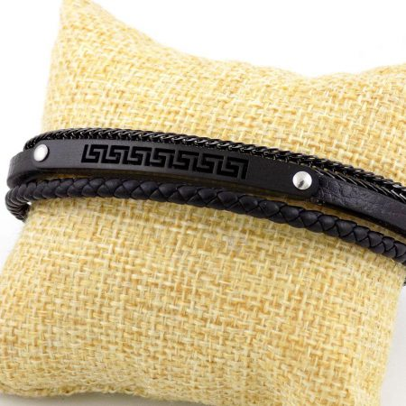 دستبند چرمی مردانه مشکی زنجیری طرح ورساچه ds-n159 از نمای بالا
