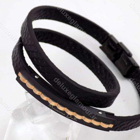 دستبند چرم مردانه massimo dutti با رویه استیل مشکی و رزگلد ds-n183 از نمای بالا
