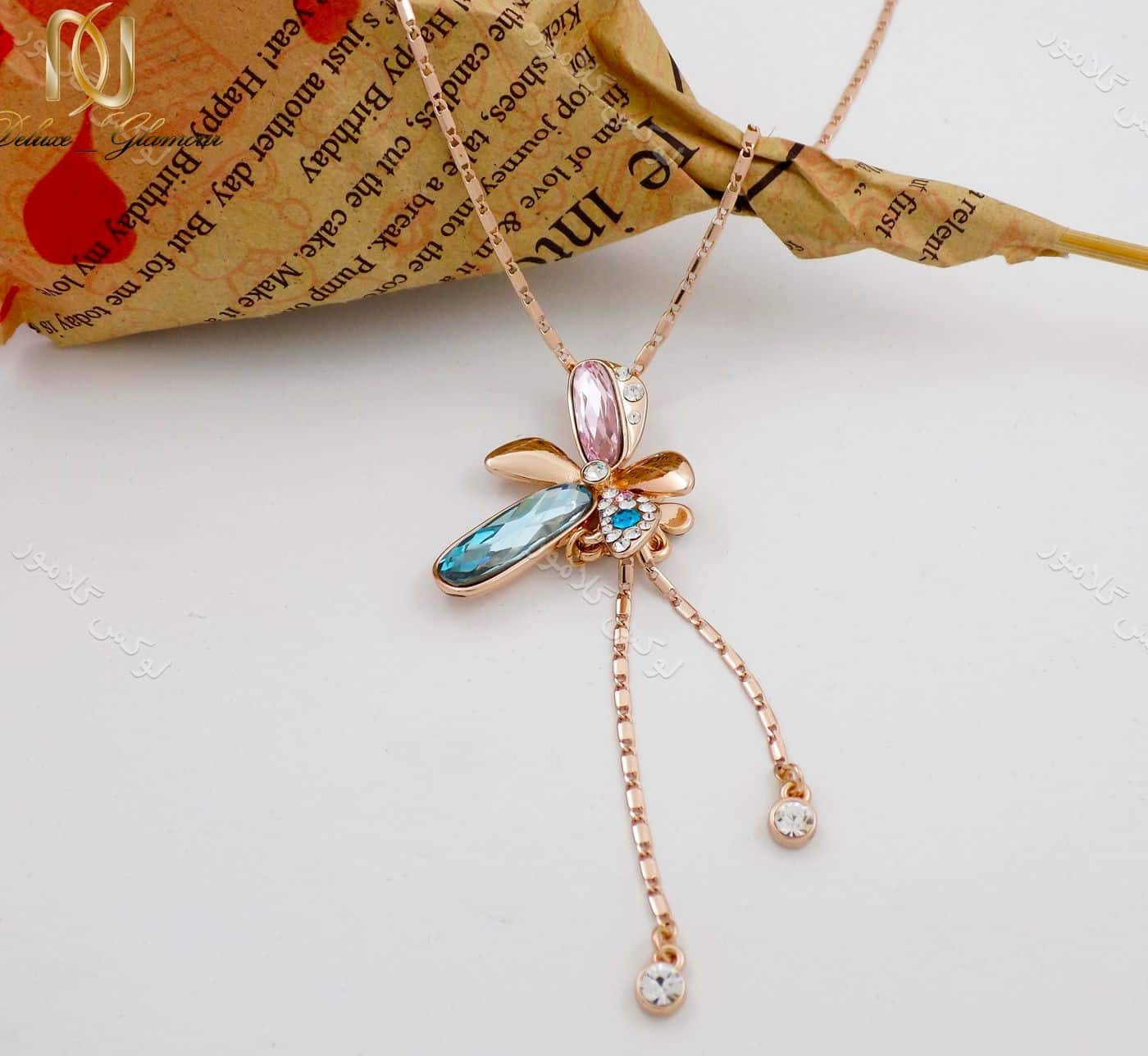 گردنبند دخترانه رزگلد کریستال سواروسکی آویزی طرح گل ne-n94