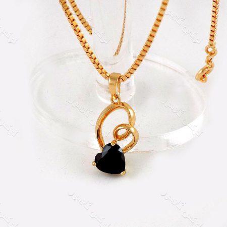 گردنبند دخترانه ژوپینگ با زنجیر 21 سانتی آجری و طرح قلب و نگین مشکی زیرکونیا nw-n137 از نمای بالا