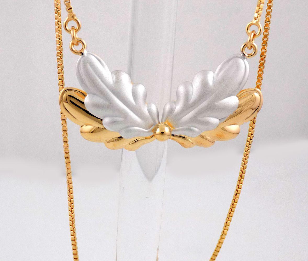 گردنبند دخترانه ژوپینگ با طرح آنجل و روکش آب طلای 18 عیار nw-n130 از نمای روبرو