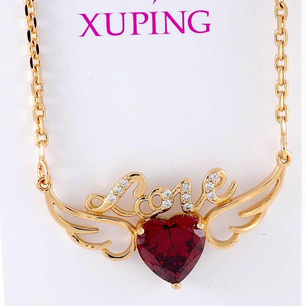 گردنبند دخترانه ژوپینگ با طرح آنجل و نگین قرمز طرح قلب nw-n135