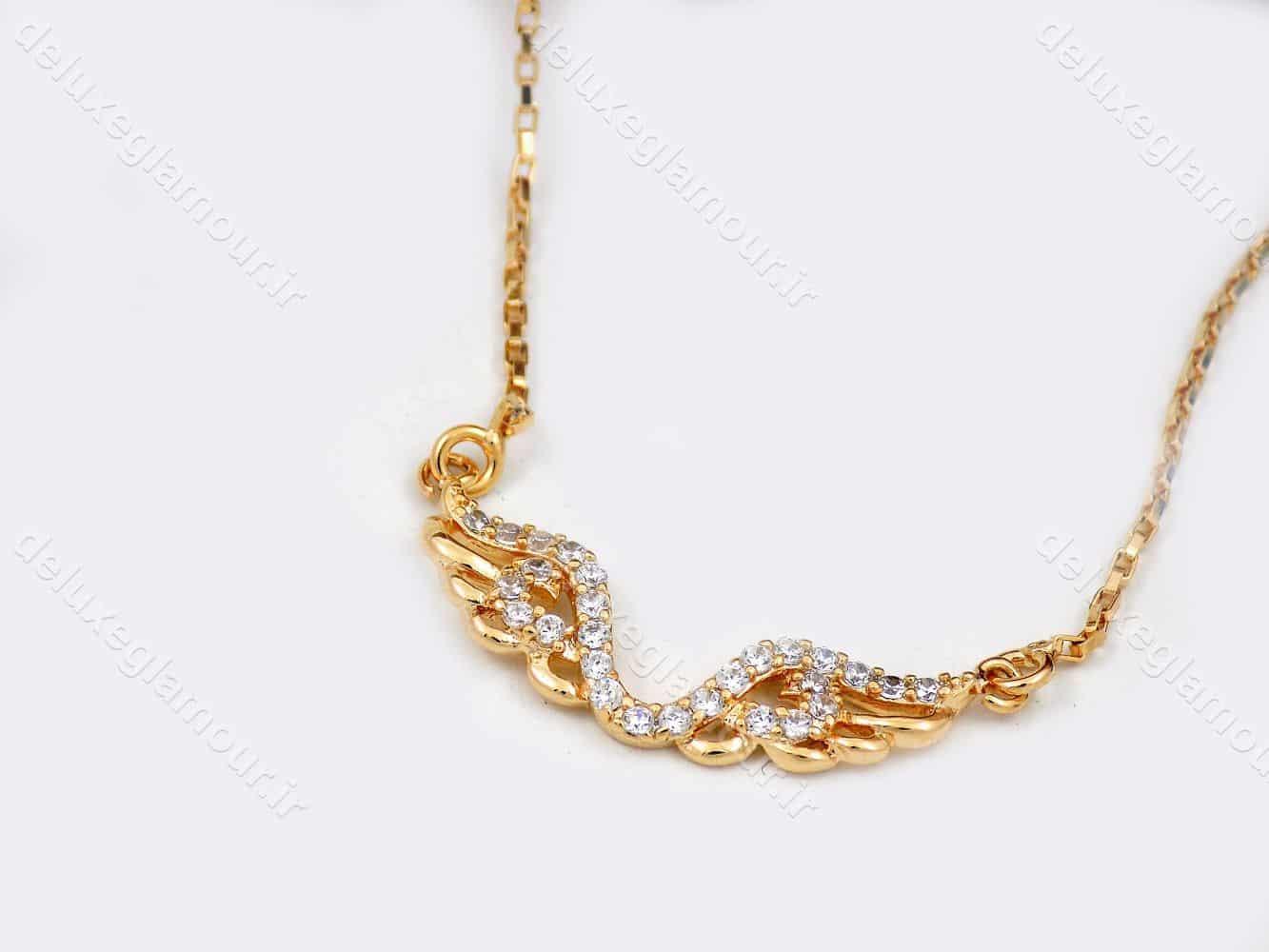 گردنبند دخترانه ژوپینگ با طرح بال فرشته و نگین های سفید زیرکونیا nw-n142