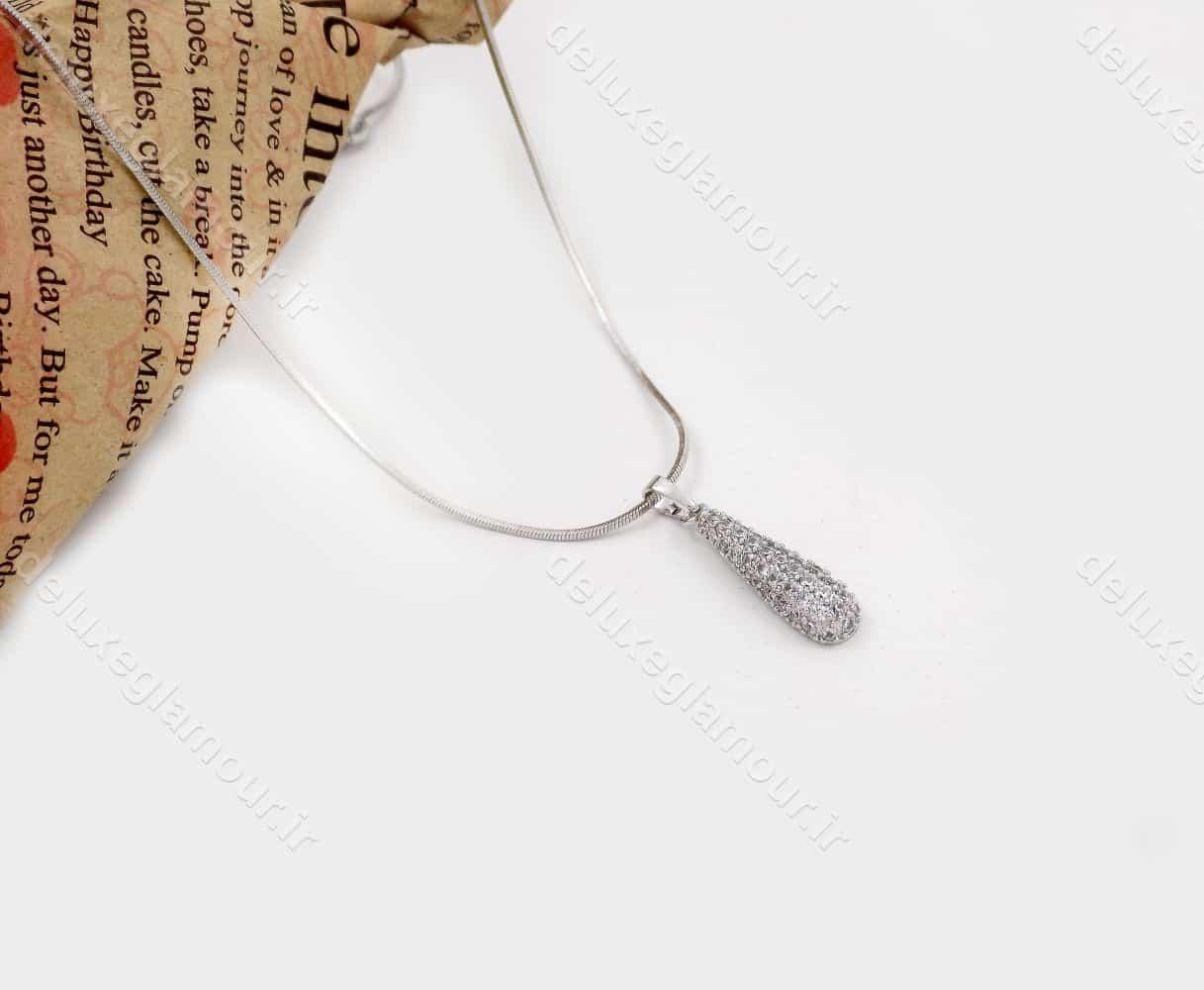 گردنبند دخترانه ژوپینگ با نگین زیرکونیا و روکش رادیوم nw-n151 از نمای دور