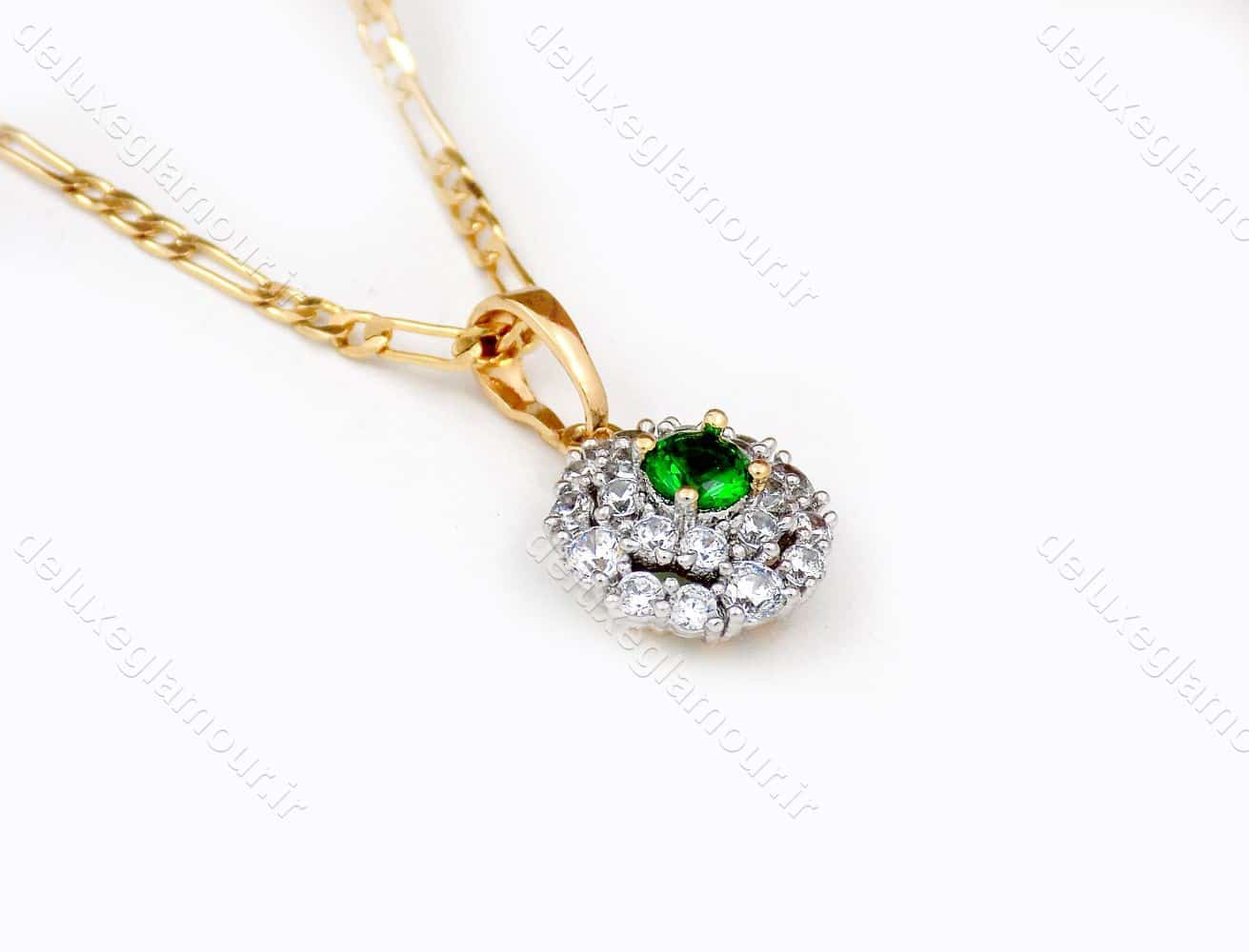 گردنبند دخترانه ژوپینگ با نگین کریستالی سبز و سفید از جنس زیرکونیا nw-n140