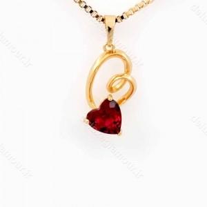 گردنبند دخترانه ژوپینگ طرح قلب با نگین قرمز از جنس زیرکونیا nw-n145 از نمای روبرو