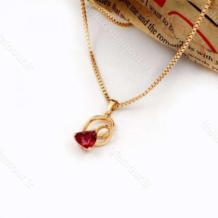 گردنبند دخترانه ژوپینگ طرح قلب با نگین قرمز از جنس زیرکونیا nw-n145 از نمای کنار