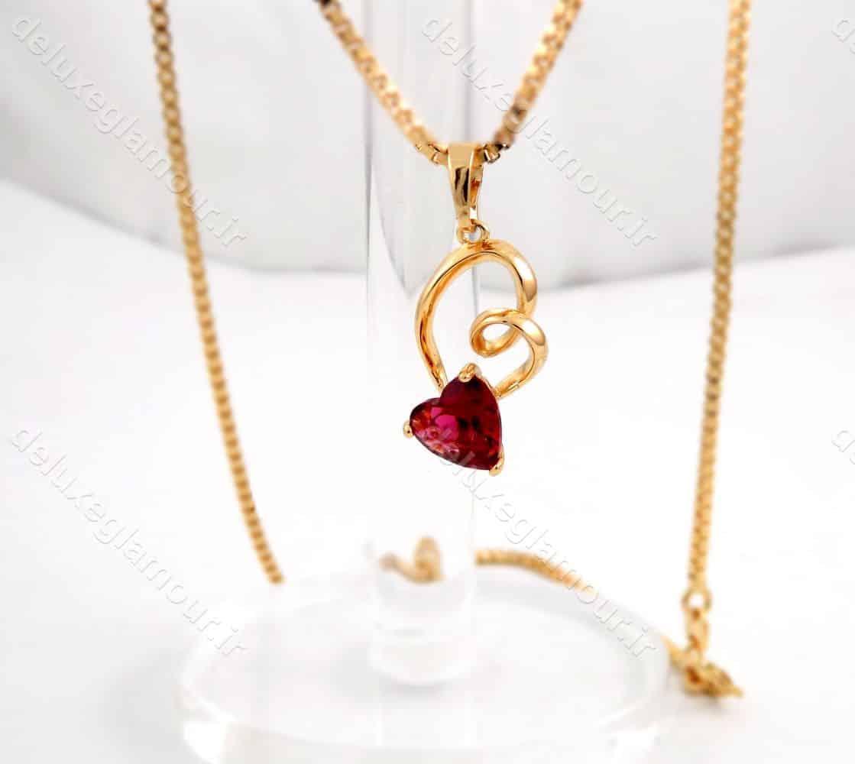 گردنبند دخترانه ژوپینگ طرح قلب با نگین قرمز از جنس زیرکونیا nw-n145