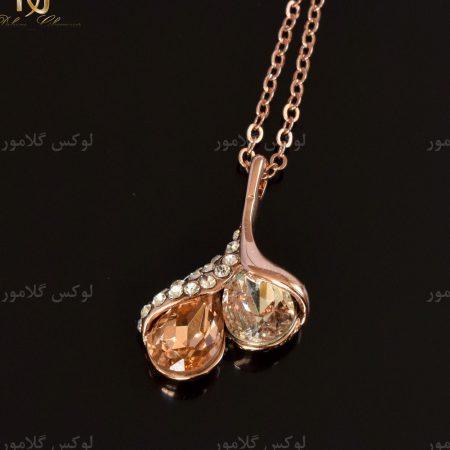 گردنبند رزگلد دخترانه جواهری کلیو با کریستال سواروسکی ne-n024 طرح مشکی