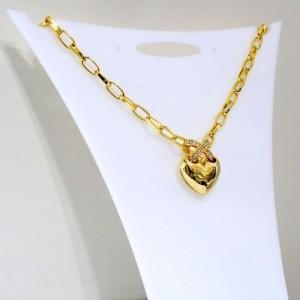 گردنبند زنانه جواهری کلیو با طرح قلب و نگین های سواروسکی اصل nw-n152 از نمای کنار