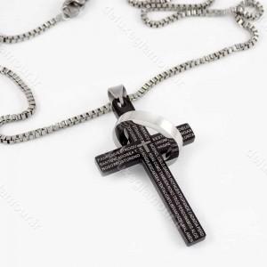 گردنبند مردانه طرح صلیب مشکی با زنجیر 23 سانتی آجری nw-n148 از نمای کنار