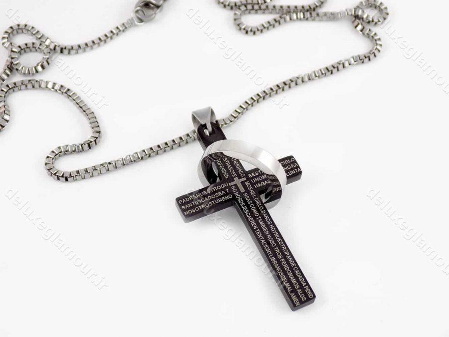 گردنبند مردانه طرح صلیب مشکی با زنجیر 23 سانتی آجری nw-n148
