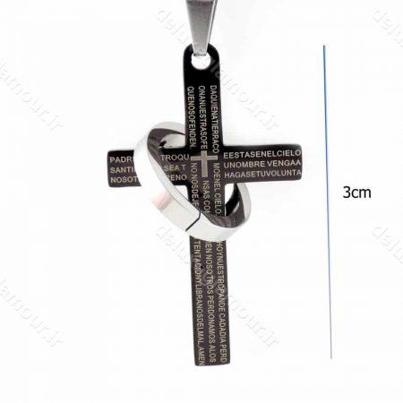 گردنبند مردانه طرح صلیب مشکی با زنجیر 23 سانتی آجری nw-n148 از نمای روبرو