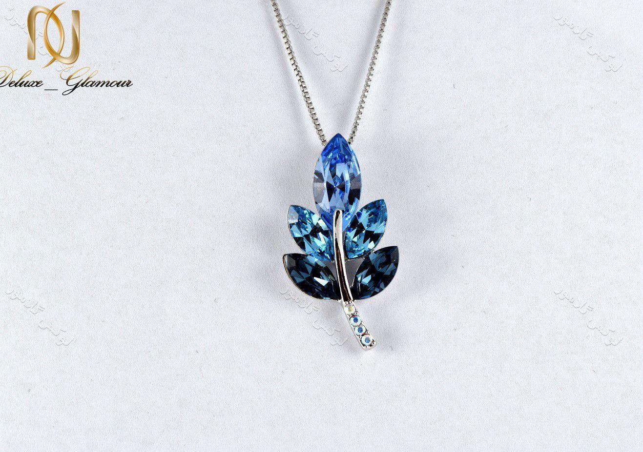 1گردنبند دخترانه طرح خوشه با کریستالهای سواروفسکی تم آبی Nw-n154 از روبرو