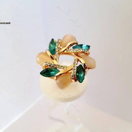 انگشتر دخترانه طرح گل کلیو با سنگ اوپال و کریستال سواروفسکی Rg-n164