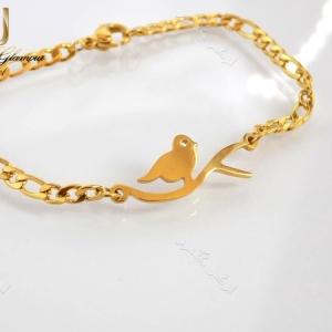 دستبند بچگانه طلایی استیل طرح پرنده Ds-n185 عکس کلی