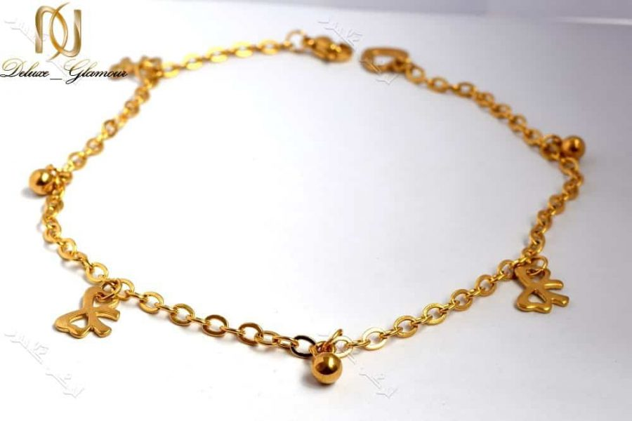 پابند دخترانه طلایی استیل تک ردیفه طرح گوی و پاپیون Se-n107 عکس از نزدیک