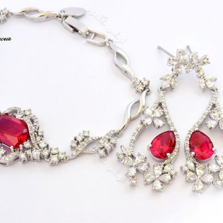 ست دستبند و گوشواره کلاسیک کلیو با کریستالهای سواروفسکی Be-n100 عکس اصلی