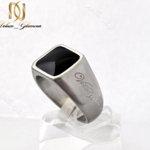 انگشتر مردانه ویتالی با جنس استیل و تاج مربعی مشکی Rg-n154 عکس اصلی