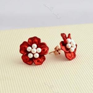 گوشواره دخترانه قرمز طرح شکوفه کلیو Er-n127 عکس اصلی