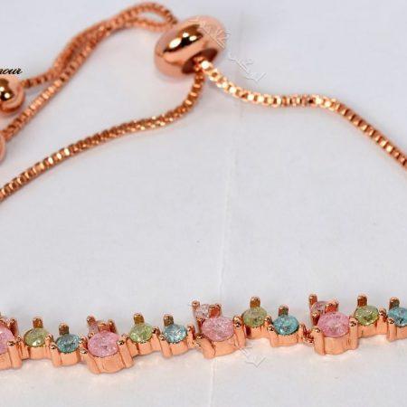 دستبند دخترانه ظریف رزگلد کلیو با سنگ اپال قیمتی سه رنگ ds-n194 u;s hwgd