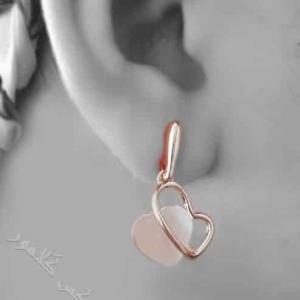 نیم ست طرح قلب رزگلد کلیو با سنگ اوپال سواروفسکی Ns-n163 عکس گوشواره