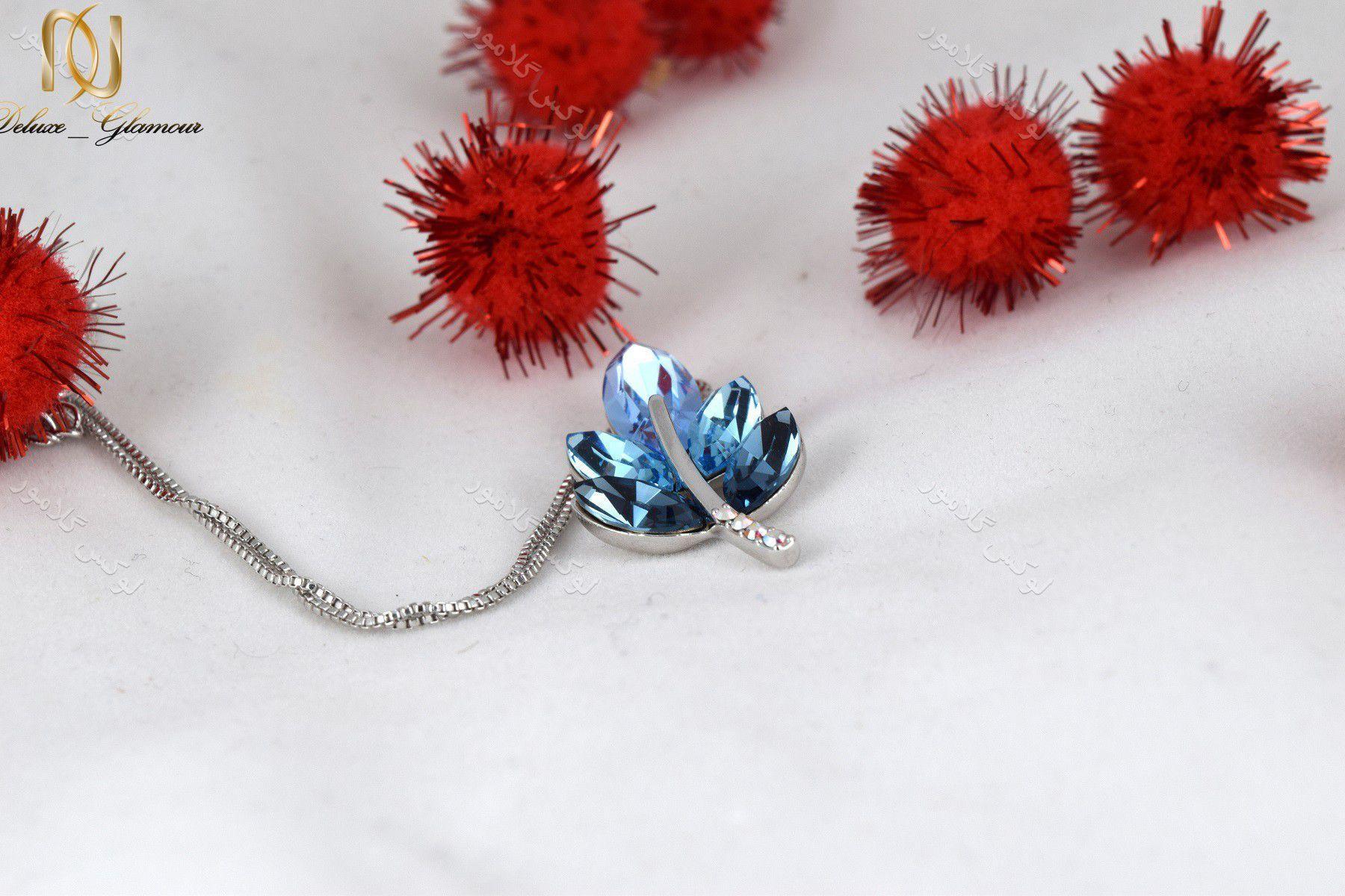 1گردنبند دخترانه طرح خوشه با کریستالهای سواروفسکی تم آبی Nw-n154 از کنار