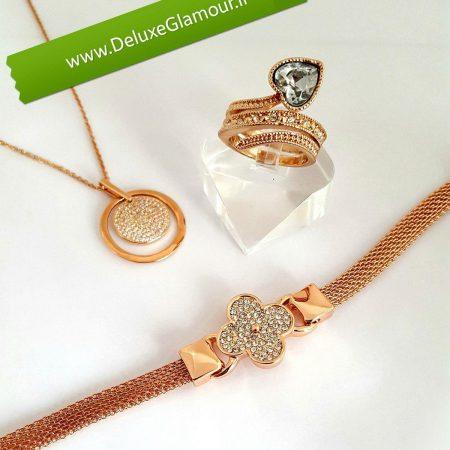 ست دستبند،گردنبند و انگشتر رزگلد کلیو با کریستالهای سواروفسکی BNR-n100 عکس اصلی
