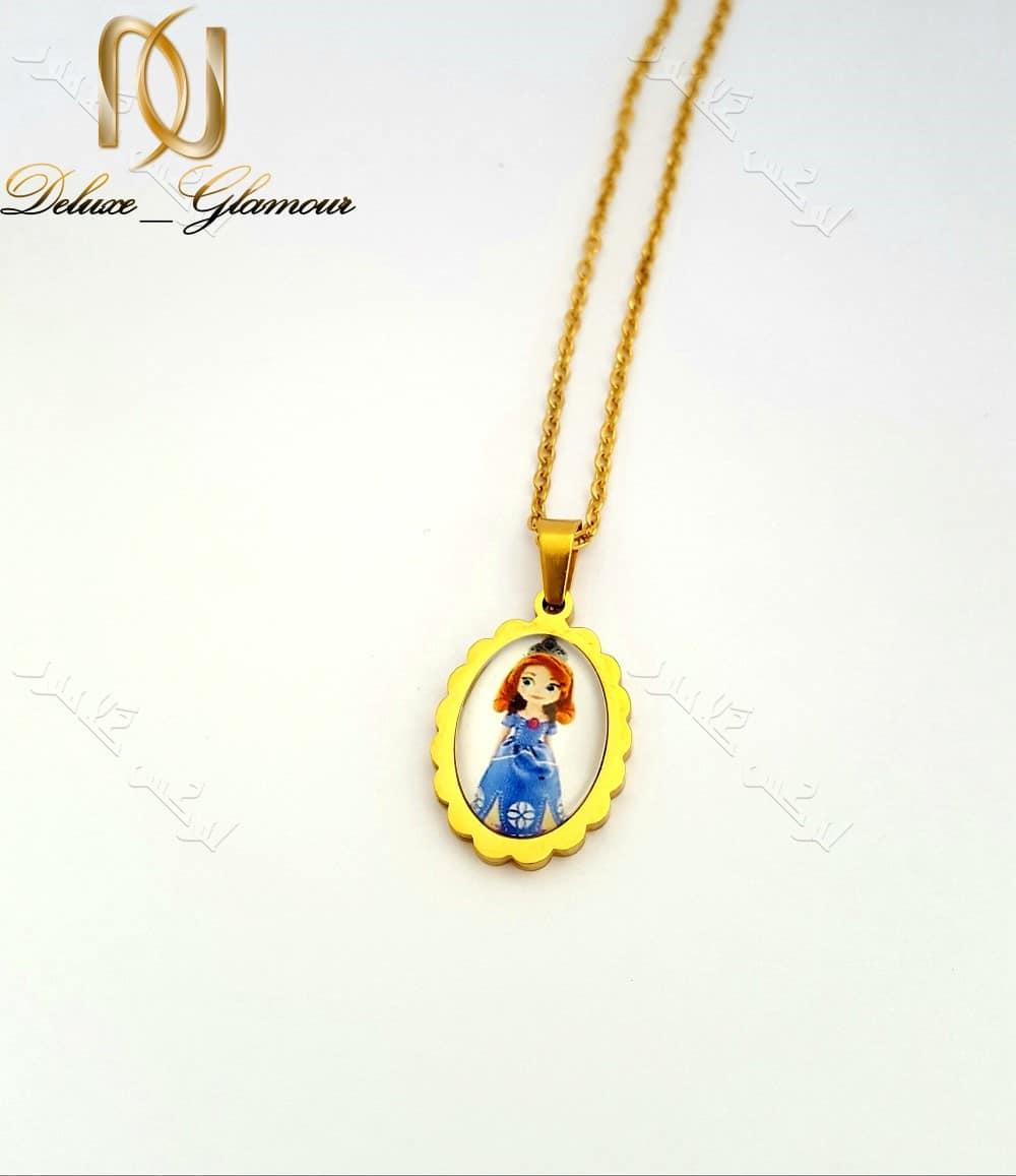 نیم ست بچگانه استیل رنگ طلایی طرح پرنسس Ns-n152