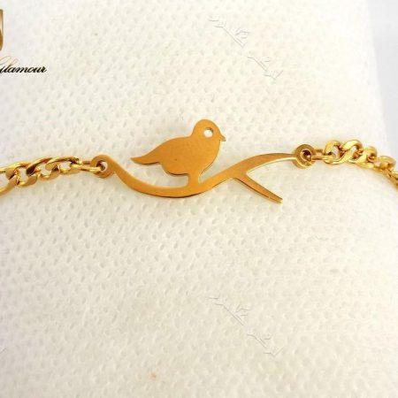 دستبند بچگانه طلایی استیل طرح پرنده Ds-n185