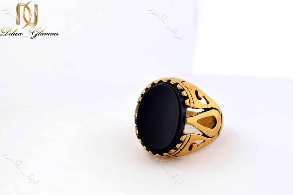 انگشتر مردانه طلایی استیل با تاج طرح عقیق درشت Rg-n156